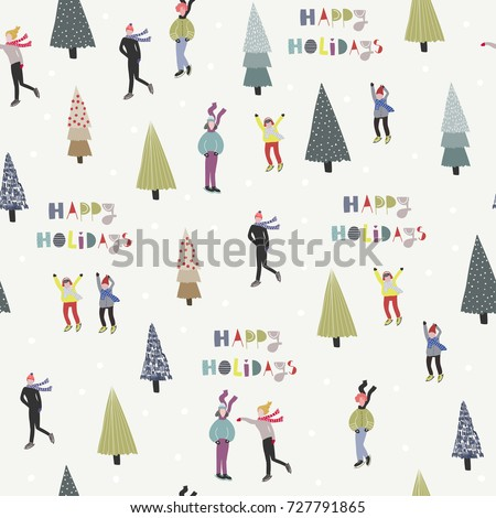 Happy holidays. Winter ice skating and christmas trees. Vector seamless pattern