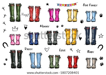 Happy home family concept. Different colors wellies collection. Rubber boots autumn fall concept. Vector illustration in watercolor style. Decoration family card on white background.