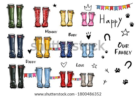Happy home family four concept. Different colors wellies collection. Rubber boots autumn fall concept. Vector illustration in watercolor style. Decoration family card on white background. Foto stock ©