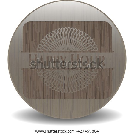 Happy Hour badge with wood background