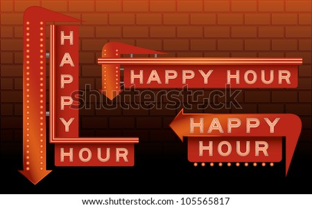 Happy hour bar signs with neon and lights