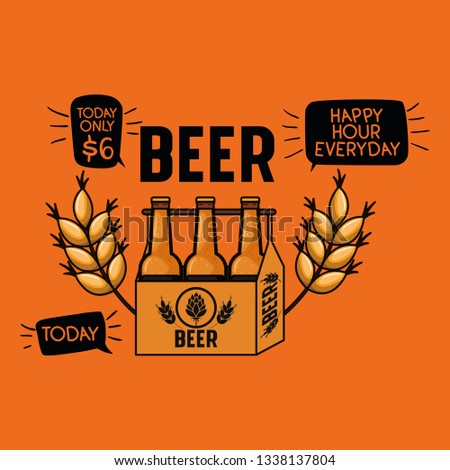 happy hour beers label with