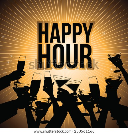 Happy hour burst with toasting hands design EPS 10 vector royalty free illustration for pubs, bars, nightclubs, restaurants, signage, posters, advertising, coasters, web, blogs, articles