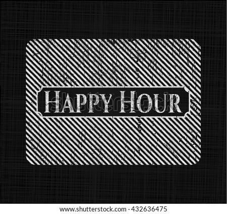 Happy Hour chalk emblem, retro style, chalk or chalkboard texture