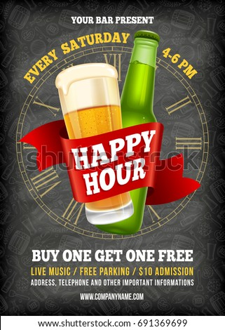 Happy Hour. Free beer. Vintage illustration template for web, poster, flyer, invitation to party. Vector stock illustration.