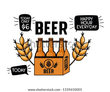 happy hour label with beer