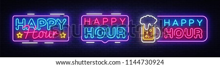 Happy Hour neon banner collection vector design template. Happy Hour neon text, light banner design element colorful modern design trend, night bright advertising, bright sign. Vector illustration