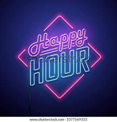 Happy hour neon sign. Vector illustration.