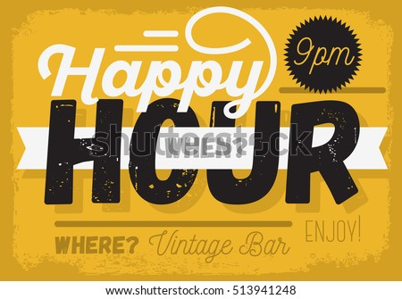 Happy Hour. New Vintage Headline Sign Design With A Banner Ribbon For Text.  Vector Graphic.