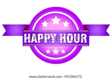 happy hour vector stamp