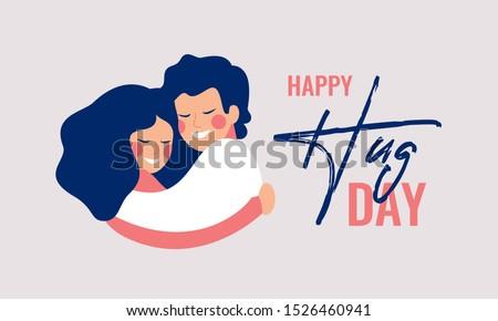 happy hug day greeting card