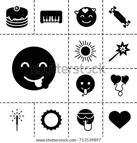 happy icon set of 13 filled