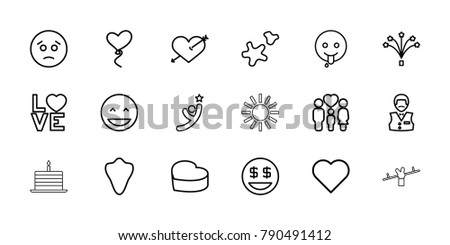 Happy icons. set of 18 editable outline happy icons: animal fang, casino boy, laughing emot, sad emot, heart with arrow, dollar smiley, emoji showing tongue, heart, family