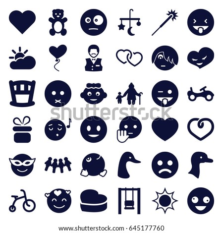 happy icons set set of 36