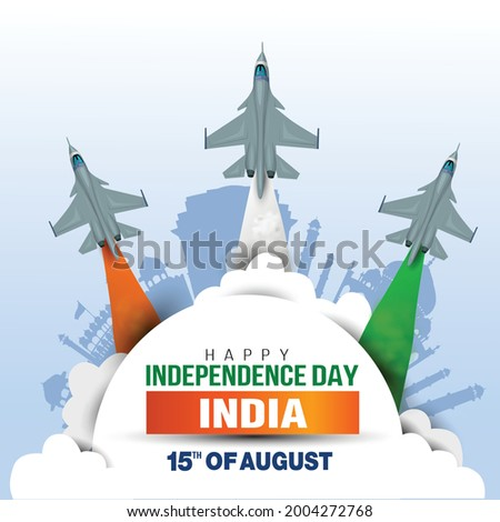 Happy Independence Day India concept with vector  illustration of fighter jets and Indian flag colors, with  blue background.