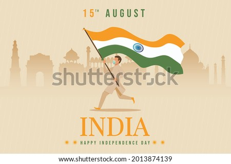 happy independence day India. vector illustration of Indian man with flag. corona virus covid-19 concept. indian flag with monuments