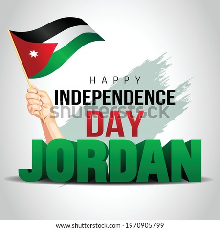 Happy Independence Day Jordan Vector Template Design Illustration. hand holding with Jordan flag. Stock photo ©