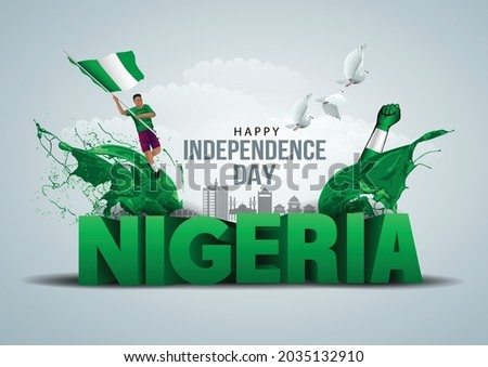 happy independence day Nigeria greetings. vector illustration design