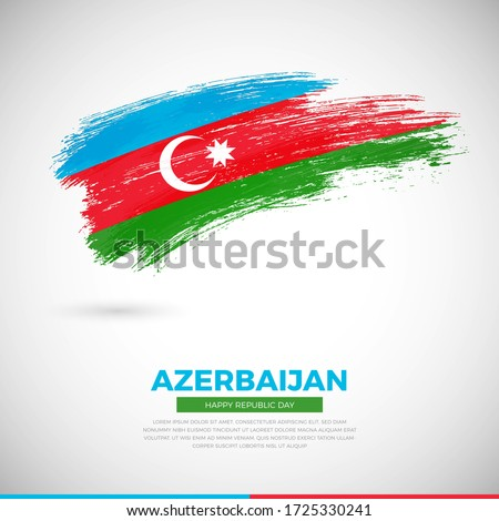 Happy independence day of Azerbaijan country. Abstract grunge brush of Azerbaijan flag illustration
