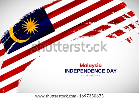 Happy Independence day of Malaysia. Watercolor brush stroke flag background. Creative national country flag with Abstract watercolor grunge brush flag. Photo stock ©