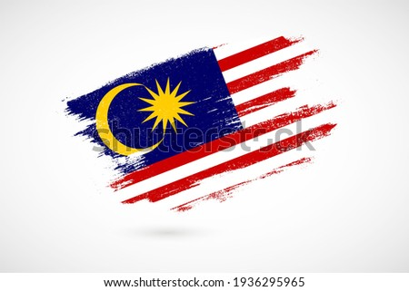 Happy independence day of Malaysia with vintage style brush flag background Foto stock ©
