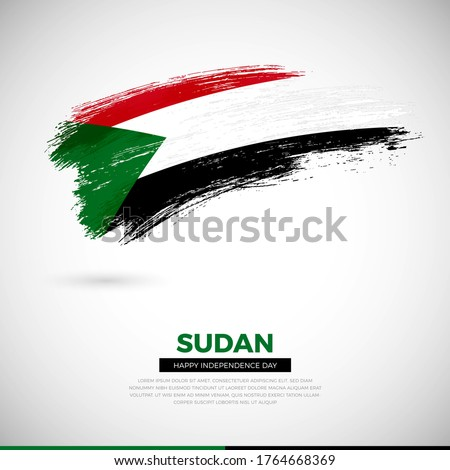 Happy independence day of Sudan country. Artistic grunge brush of Sudan flag illustration