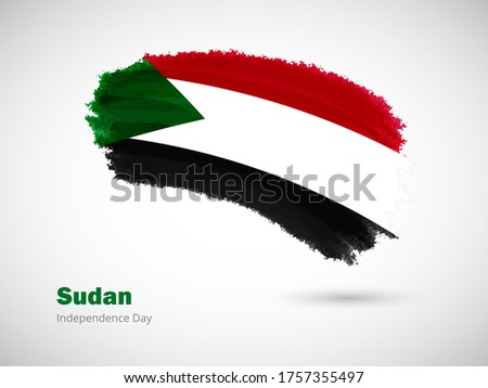 Happy independence day of Sudan with artistic watercolor country flag background. Grunge brush flag illustration