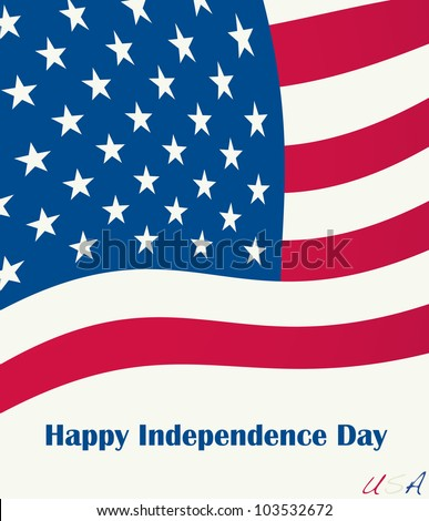 Happy independence day on US flag