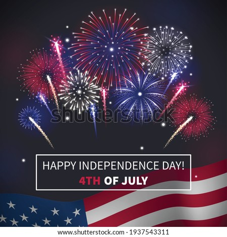 Happy independence day realistic background with bursting fireworks and america flag vector illustration