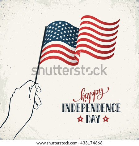 Happy Independence Day. Women's hand holding flag of USA with text on retro background. USA Independence Day banner in vintage style.