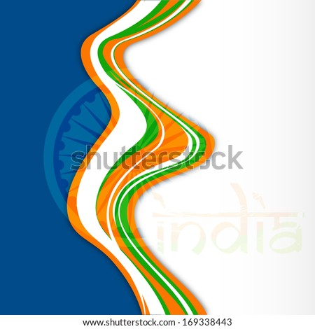 Happy Indian Republic Day concept with national flag colors wave background with text India.