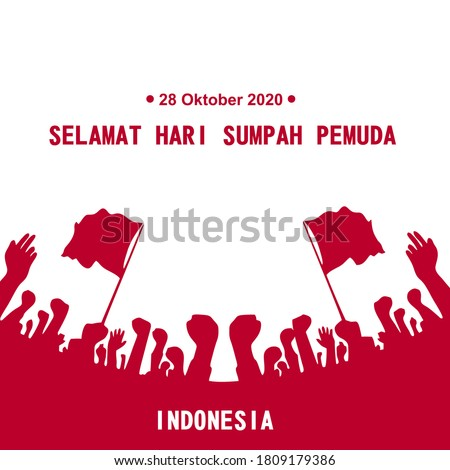 Happy Indonesian Youth Pledge (Sumpah Pemuda) vector illustration. 28 October Youth Pledge Day. Suitable for greeting card, poster and banner.