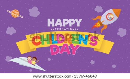 Happy International Children's Day greeting card. Colored letters on a yellow ribbon with a child flying on a rocket and a couple of children on a paper plane on a purple sky with clouds and stars.