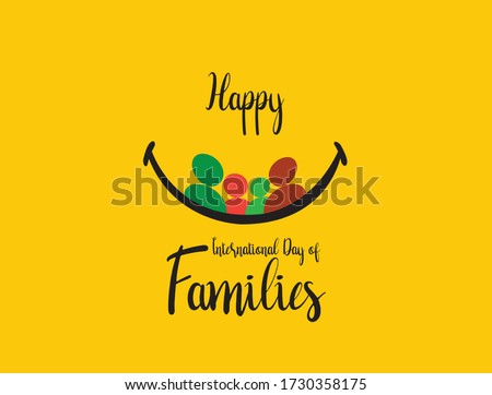 Happy International Day of Families Vector Template. Happy Family day- covid-19 family stay on home. stay with family stay safe. Happiness day concept.