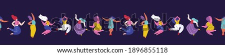 Happy International Woman Day Endless Pattern.Feminism concept.Confident Dancing Girls.Eight of March Congratulation. Protect Free Confident Women. Feminine,Female Empowerment Flat Vector Illustration