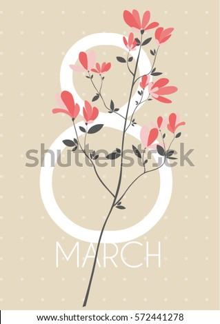 Happy International Women's Day and 8 march. greeting card with spring branch and small red flowers on the light retro background.
