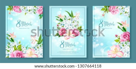 Happy International Women's Day 8 March. Set of three floral backgrounds with blooming flowers of pink Roses, Alstroemeria, light-blue Phloxes, buds, green leaves on pastel sky-blue background