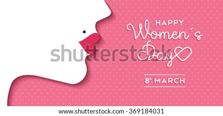 Happy International Women's Day on March 8th design background. Illustration of woman's face profile with retro style makeup. EPS10 vector.