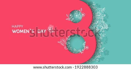Happy International women`s Day,  vector greeting banner, flyer, poster, card, background with 8th march silhouette, line drawn decorative blossom flowers branches, spring grass. Paper cut flat lay