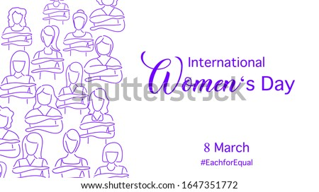 Happy international women's day with March 8, 2020 them : Each for Equal.  Many women do the each for equal symbol. Purple line art. Vector illustration , flat design