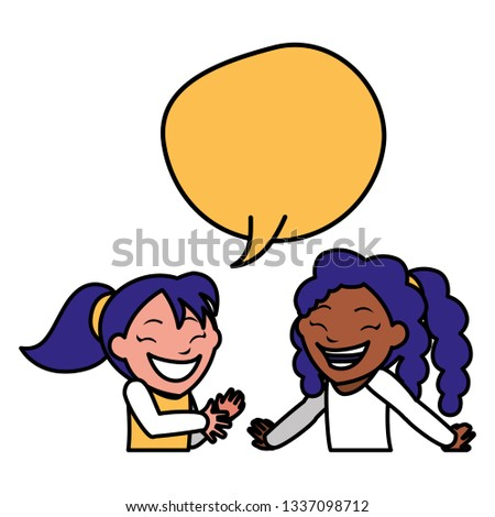happy interracial girls with speech bubble