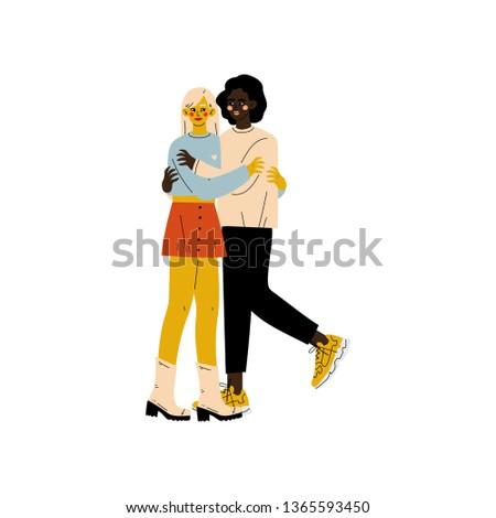 Happy Interracial Lesbian Couple, Two Hugging Women, Romantic Homosexual Relationship Vector Illustration
