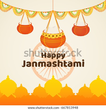 Happy Janmashtami poster or banner. Indian festival vector illustration. Celebration card