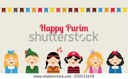 Happy jewish children in fancy dress enjoying Purim Stock photo ©