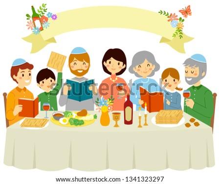 happy jewish family celebrating