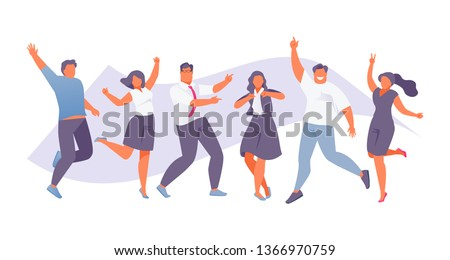 Happy jumping business people. Team and cooperation. Vector illustration