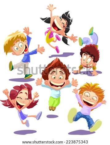 Happy jumping kids