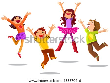 happy jumping kids isolated on white background