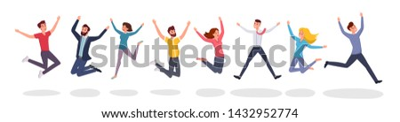Happy jumping people flat illustration. Group jump photo, students, friends celebrate winning cartoon characters. Victory and teamwork, celebration party isolated on white background #1432952774