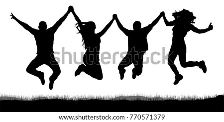 happy jumping  people friends